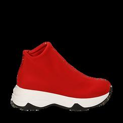 Sneakers a calza rosse in lycra, zeppa 5 cm , Scarpe, 142008357LYROSS035, 001a