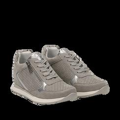 Sneakers grigie in microfibra con zip , Scarpe, 132899172MFGRIG036, 002a