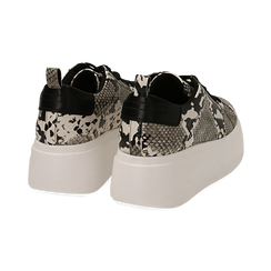 Sneakers blanc/noires imprimé python, compensée 6,50 cm , Primadonna, 167505101PTBINE035, 004 preview