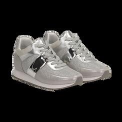 Sneakers glitter argento con dettaglio mirror, Scarpe, 132899414GLARGE036, 002 preview