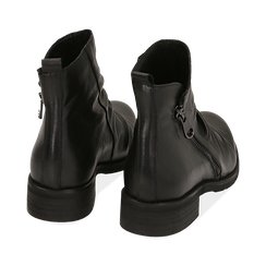 Biker boots neri in pelle di vitello drappeggiata, Primadonna, 14A919608VINERO035, 004 preview