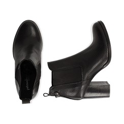 Chelsea boots traforati neri in vitello, tacco 8,50 cm , Scarpe, 138900880VINERO036, 003 preview