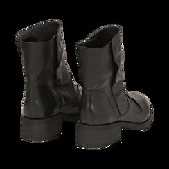 Biker boots neri in pelle, tacco 4 cm , Stivaletti, 147718214PENERO036, 004 preview