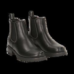 Chelsea boots neri in eco-pelle con micro boules, Scarpe, 140691301EPNERO036, 002 preview