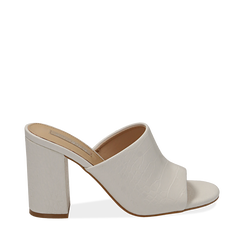 Mules bianche in eco-pelle cocco print, tacco 9 cm , Chaussures, 152783430CCBIAN036, 001a