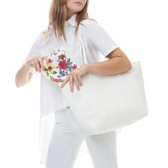 Shopping bag bianca in eco-pelle con pochette ed interni stampa floreale, Borse, 133783133EPBIANUNI, 002a