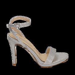 Sandalias en purpurina color plateado, tacón 10,50 cm , Zapatos, 152127401GLARGE038, 001a