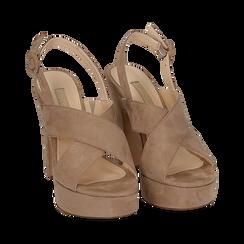 Sandali beige in microfibra, tacco 12,50 cm , Scarpe, 158480412MFBEIG, 002 preview