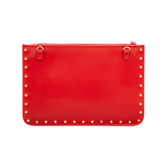 Clutch rossa in ecopelle con profilo mini-borchie, Borse, 123308330EPROSSUNI, 002 preview