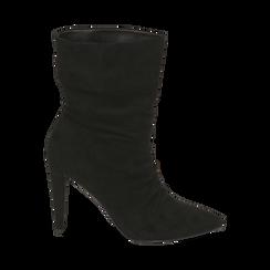 Ankle boots drappeggiati neri in microfibra, tacco 10 cm , Stivaletti, 142152925MFNERO035, 001 preview