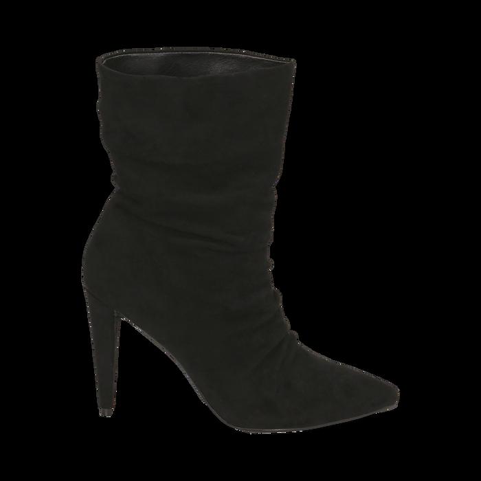 Ankle boots drappeggiati neri in microfibra, tacco 10 cm , Stivaletti, 142152925MFNERO035