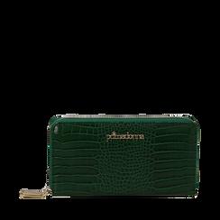 Portafogli verde in eco-pelle effetto cocco , Borse, 142200896CCVERDUNI, 001a