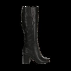 Stivali neri punta arrotondata, tacco 7,5 cm, Scarpe, 122182011EPNERO, 001 preview