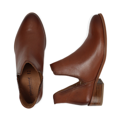 Ankle boots cuoio in pelle, tacco 3 cm, Scarpe, 159407601PECUOI036, 003 preview