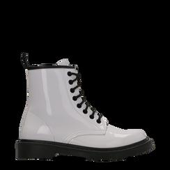 Anfibi bianchi vernice con lacci, tacco basso, Scarpe, 122801501VEBIAN036, 001a