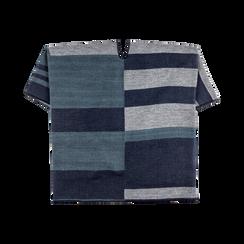 Poncho blu effetto lamé, stampa a quadri multicolore, Saldi, 12B409679TSBLUE, 006 preview