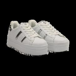 Sneakers bianche in eco-pelle con suola platform 4 cm, Scarpe, 130101010EPBIAN036, 002 preview