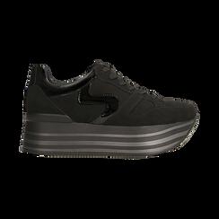 Sneakers nere con maxi platform a righe, Scarpe, 122800321MFNERO, 001 preview