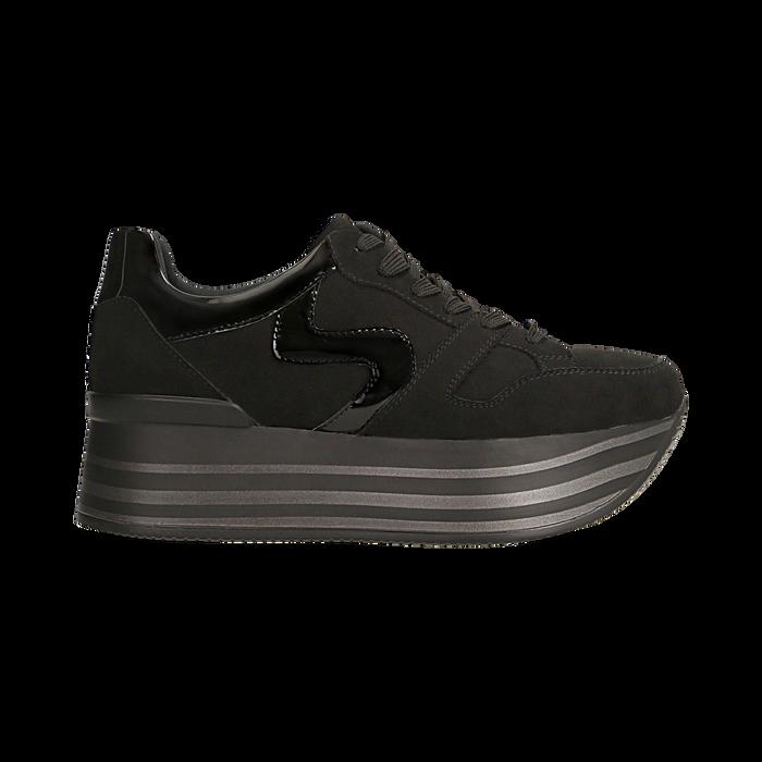 Sneakers nere con maxi platform a righe, Scarpe, 122800321MFNERO
