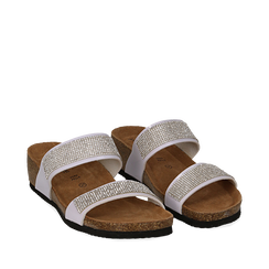 Sandali platform bianchi in vernice, con strass, zeppa in sughero 5 cm , Primadonna, 117811048VEBIAN036, 002a