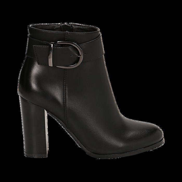 Ankle boots neri in eco-pelle, tacco 9,5 cm , Stivaletti, 143058705EPNERO036