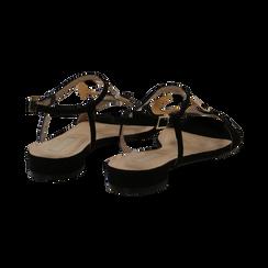 Sandali neri in microfibra con dettaglio gold, Primadonna, 139640157MFNERO036, 004 preview
