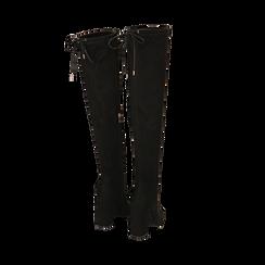 Overnkee neri in microfibra, tacco 10 cm , Stivali, 142179696MFNERO035, 003 preview