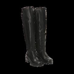 Overknee neri in eco-pelle, tacco 4 cm , Stivali, 143025001EPNERO035, 002a