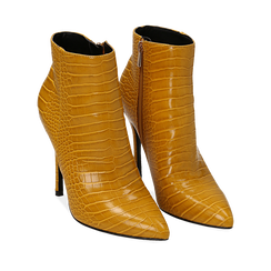 Ankle boots gialli stampa cocco, tacco 11 cm , Stivaletti, 142168616CCGIAL035, 002a