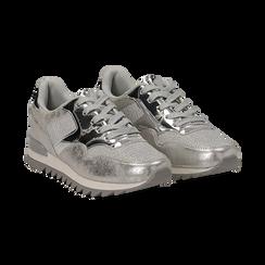 Sneakers argento in tessuto laminato e dettagli mirror, Scarpe, 130100107LMARGE036, 002 preview