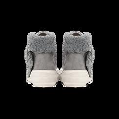 Sneakers grigie con risvolto in eco-shearling, Primadonna, 124110063MFGRIG, 003 preview
