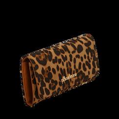 Portafogli leopard in microfibra, Borse, 142200002MFLEOPUNI, 002a