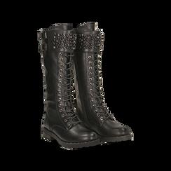 Stivali neri con perle e fibbie dark, tacco 3,5 cm, Primadonna, 12A772521EPNERO036, 002