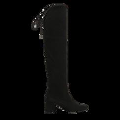 Stivali sopra il ginocchio neri scamosciati con coulisse, tacco 6,5 cm, Primadonna, 122707128MFNERO036, 001a
