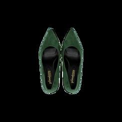 Décolleté scamosciate verdi con punta affusolata, tacco medio 7,5 cm, Scarpe, 122111552MFVERD, 004 preview