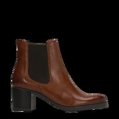 Chelsea Boots in vera pelle colore cuoio, tacco medio 6 cm, Scarpe, 127711422PECUOI035, 001a