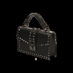 Borsa a mano borchiata nera, IDEE REGALO, 165122990EPNEROUNI, 002 preview