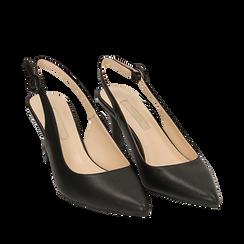 Slingback nere, tacco 7 cm, Scarpe, 152133673EPNERO035, 002a