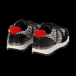 Sneakers leopard nere in eco-cavallino, Scarpe, 142008377CVLENE036, 004 preview