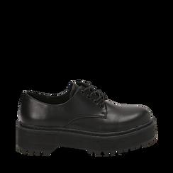 Stringate platform nere in eco-pelle , Scarpe, 140692311EPNERO036, 001a