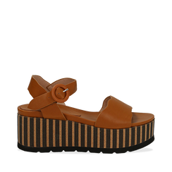 Sandali platform cuoio in eco-pelle, zeppa optical 7,50 cm , Primadonna, 134901231EPCUOI036, 001a
