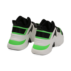 Dad shoes nero/verdi in tessuto tecnico, zeppa 8 cm , Scarpe, 147580471TSNEVE035, 004 preview