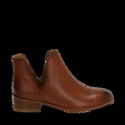 Botines en piel color cuero, tacón 3 cm, Zapatos, 159407601PECUOI037, 001a
