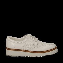 Stringate flatform bianche in eco-pelle, Scarpe, 133009503EPBIAN036, 001a