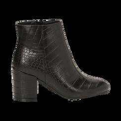Ankle boots neri stampa cocco, tacco 7,5 cm , Stivaletti, 142762715CCNERO036, 001 preview