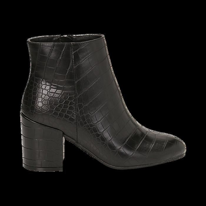 Ankle boots neri stampa cocco, tacco 7,5 cm , Stivaletti, 142762715CCNERO036