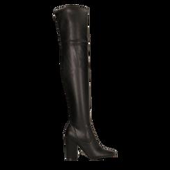 Stivali sopra il ginocchio con tacco 9,5 cm neri, Primadonna, 122186681EPNERO036, 001a