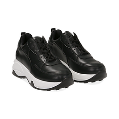 Dad shoes nere in eco-pelle, zeppa 5 cm , Scarpe, 142008356EPNERO035, 002 preview
