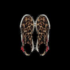 Sneakers leopard in lycra con zip, Scarpe, 12A783210LYLEOP, 004 preview