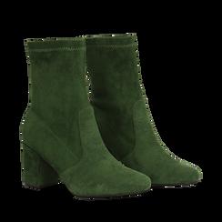 Ankle boots verdi in microfibra, tacco 7,5 cm , Stivaletti, 143072170MFVERD036, 002a